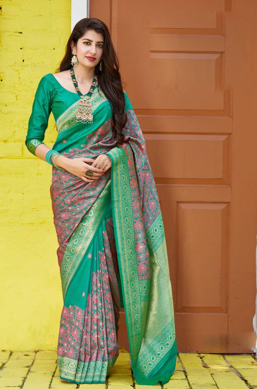 New Designer Green Color Banarsi Georgette Saree.