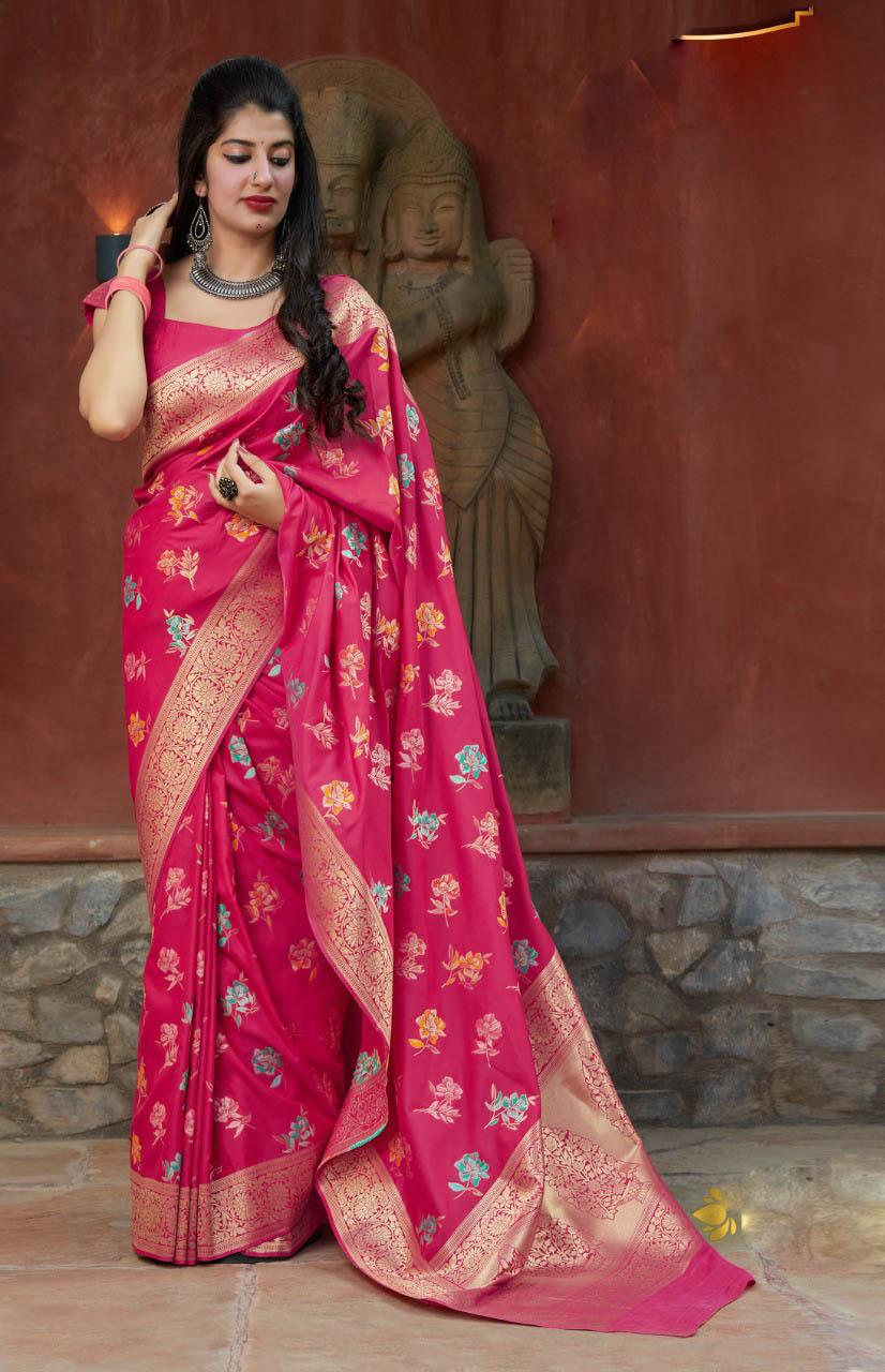 New Designer Pink Color Silk Saree For Designer Blouse