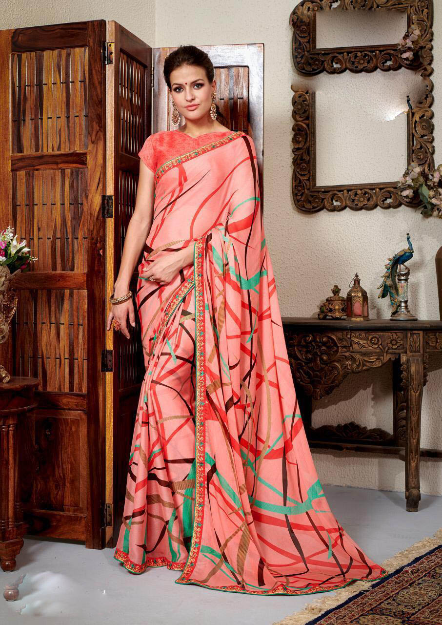 New Designer Pink Color floral printed pure georgette sarees