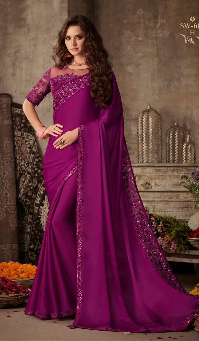 New Designer Purple Color Saree For Wedding Reception.