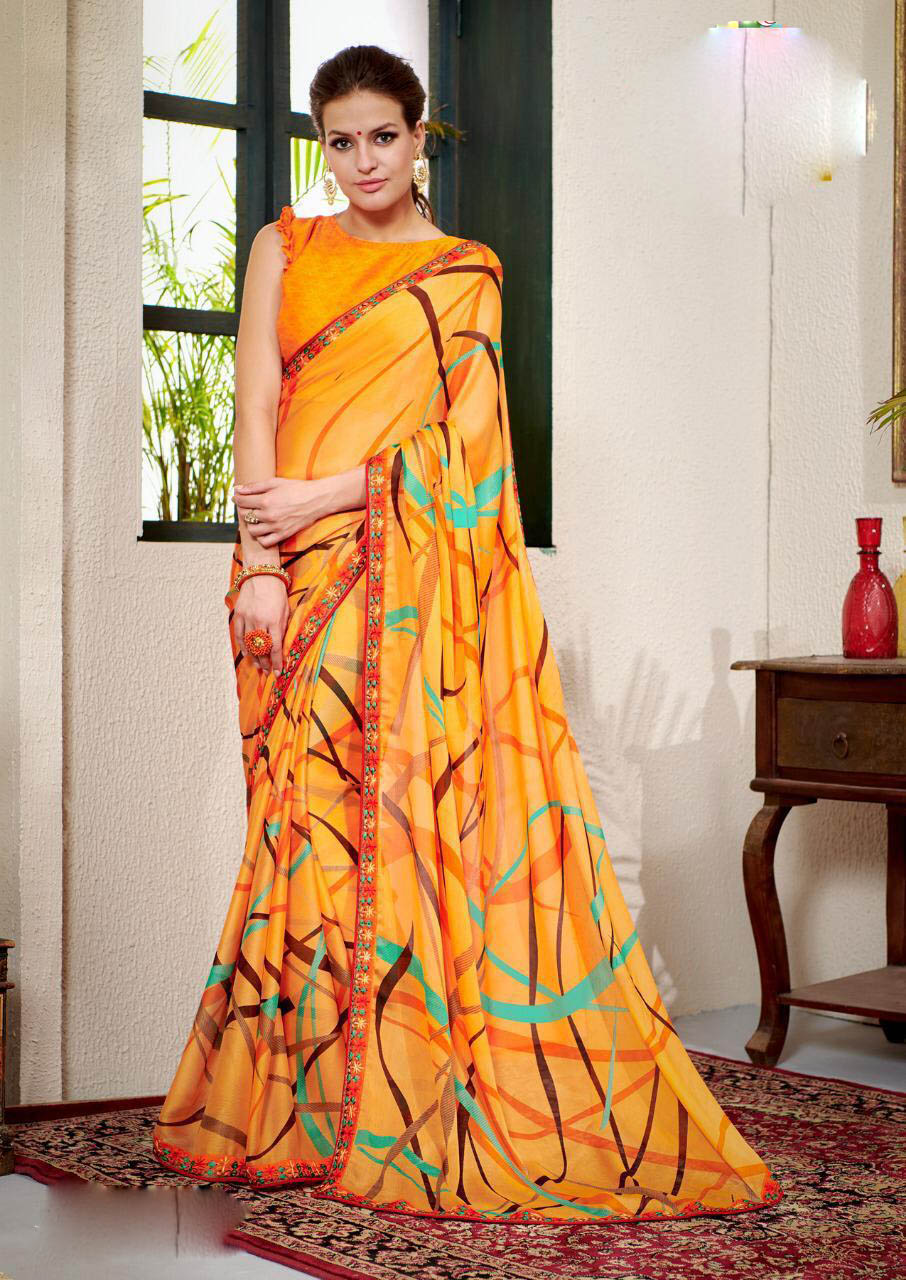 New Designer Yellow Color floral printed pure georgette sarees