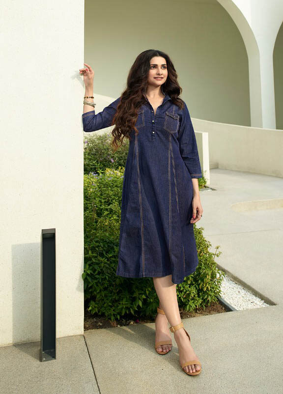 New Designer Blue Color Denim Kurtis For Shahifits.