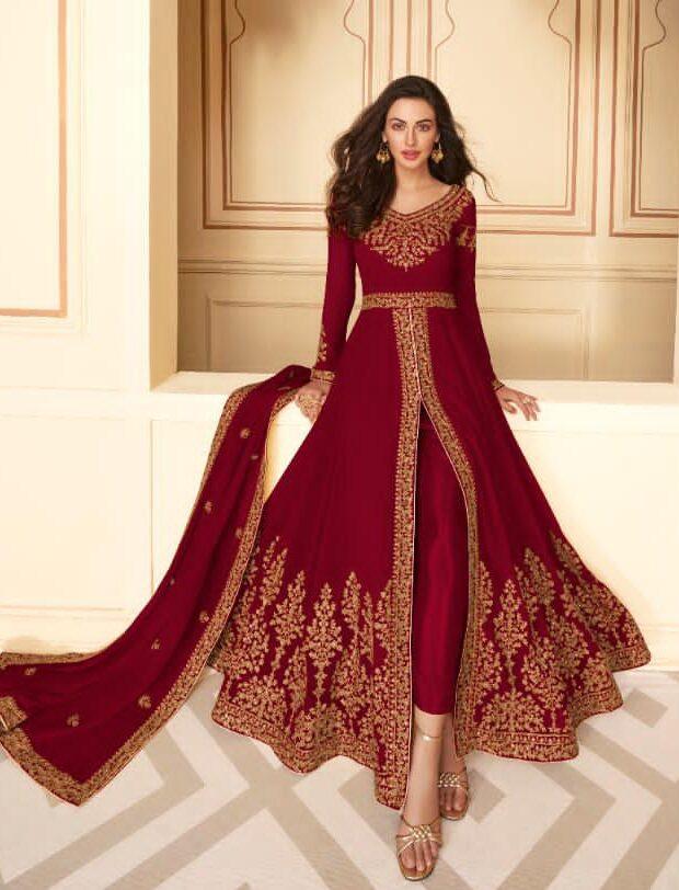 New Georgette Red Color Suit With Salwar Kameez