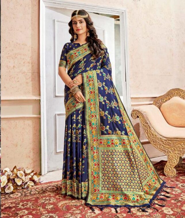 New Latest Blue Color Heavy Stone Work Saree For Wedding