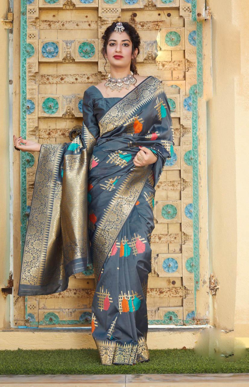 New Mode Designer Black Color Silk Saree For Bride