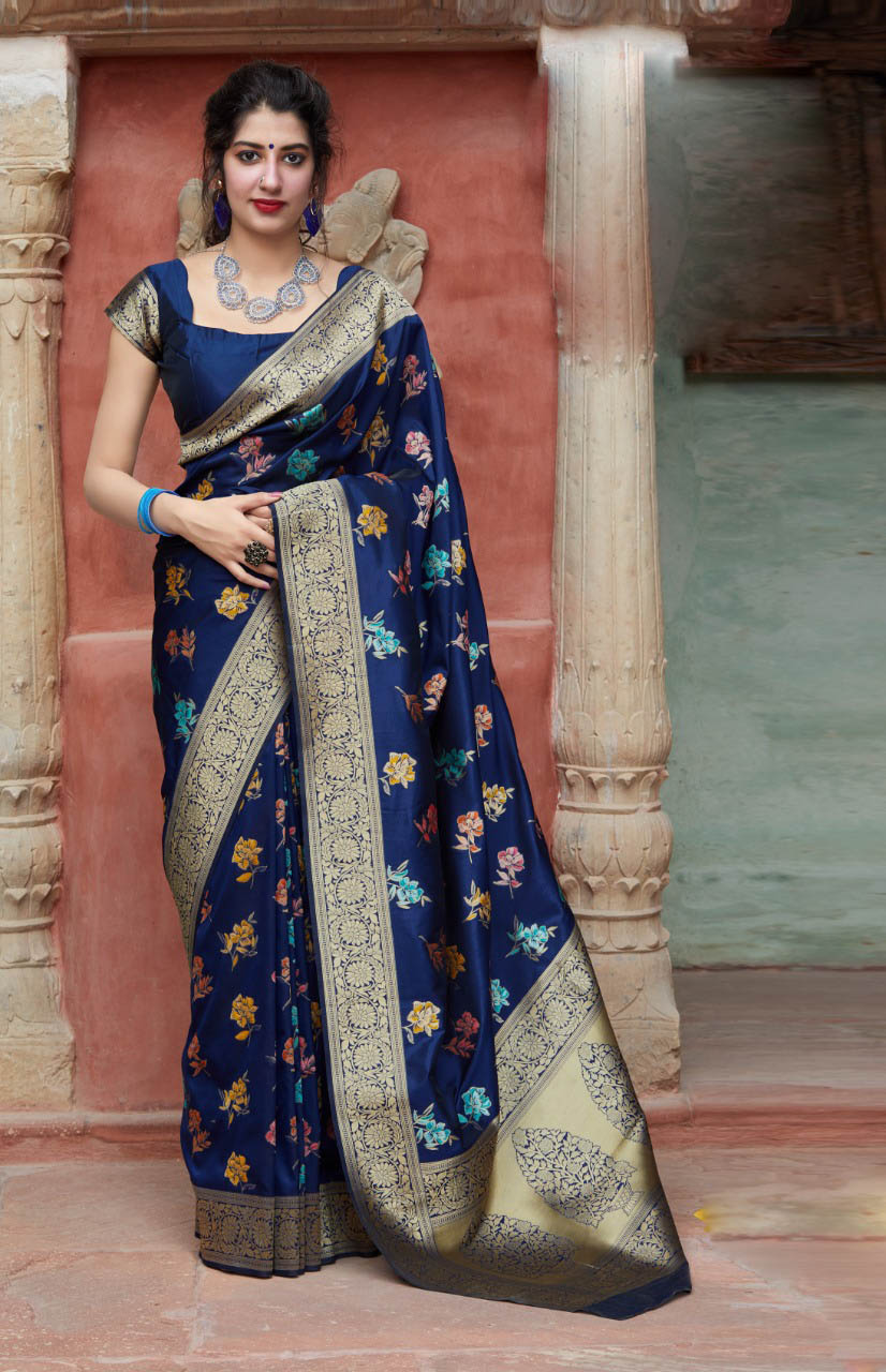 New Mode Designer Blue Color saree For Partywear.