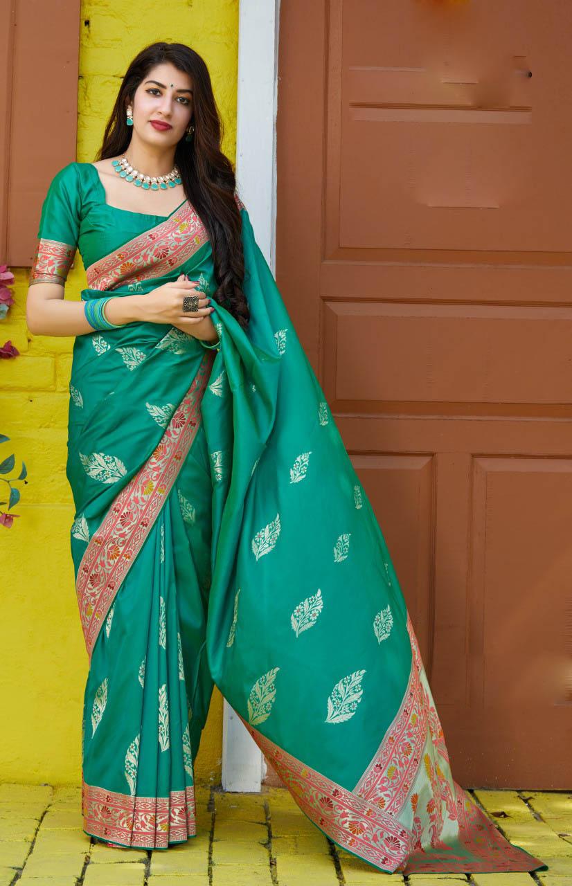 New Mode Designer Green Color Wedding Saree