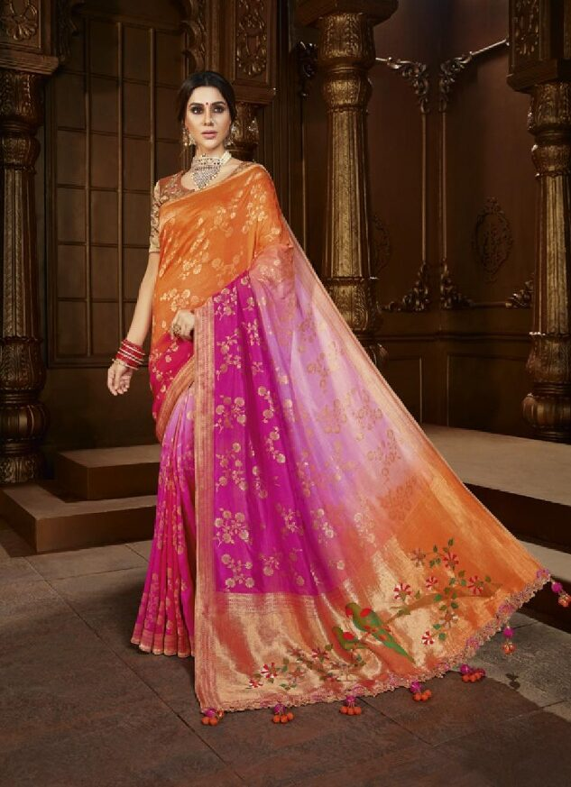 New Mode Maker MultiColor Silk Saree For Wedding Online.