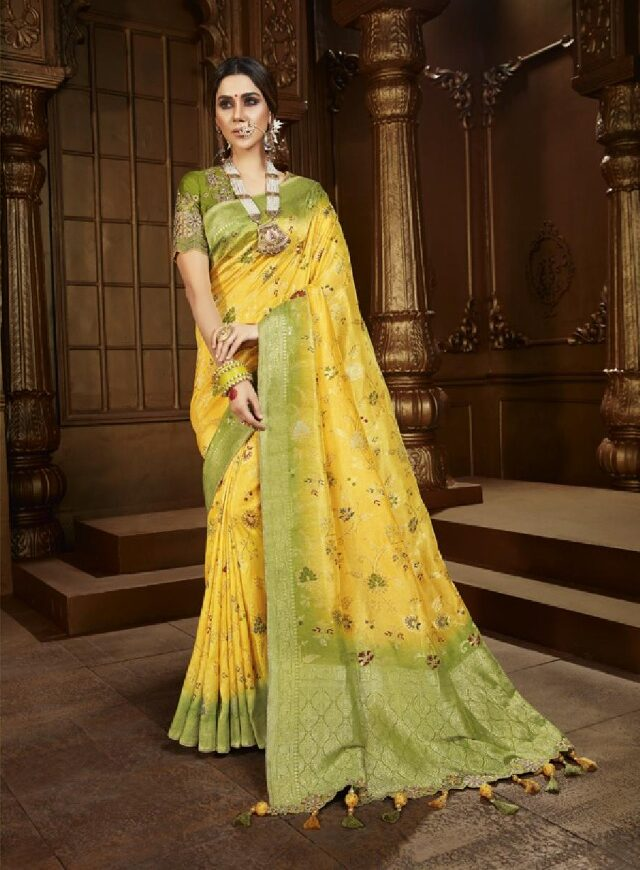 New Mode Trend Yellow Color Latest Wedding Saree Collection.