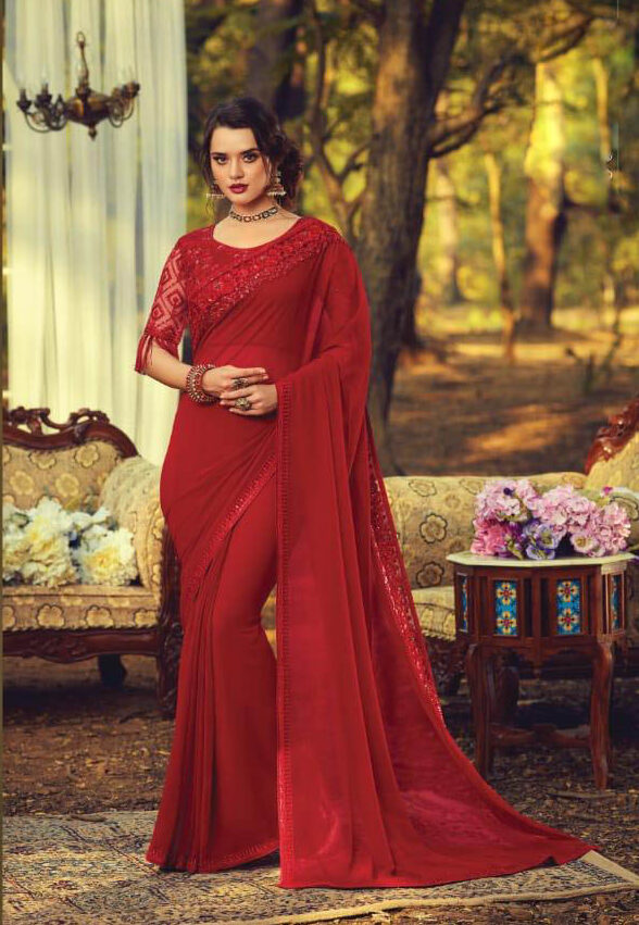 New Red Color Bollywood Saree Blouse Designs 2019