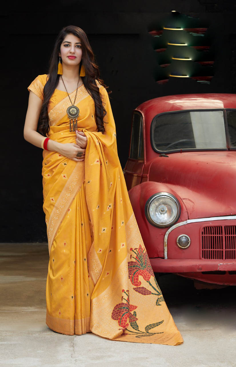 New Trend Yellow Color Silk Saree For Online Cost
