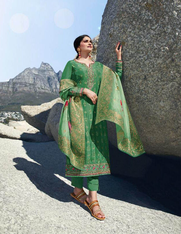 New Trend Designer Green Color punjabi suits party wear