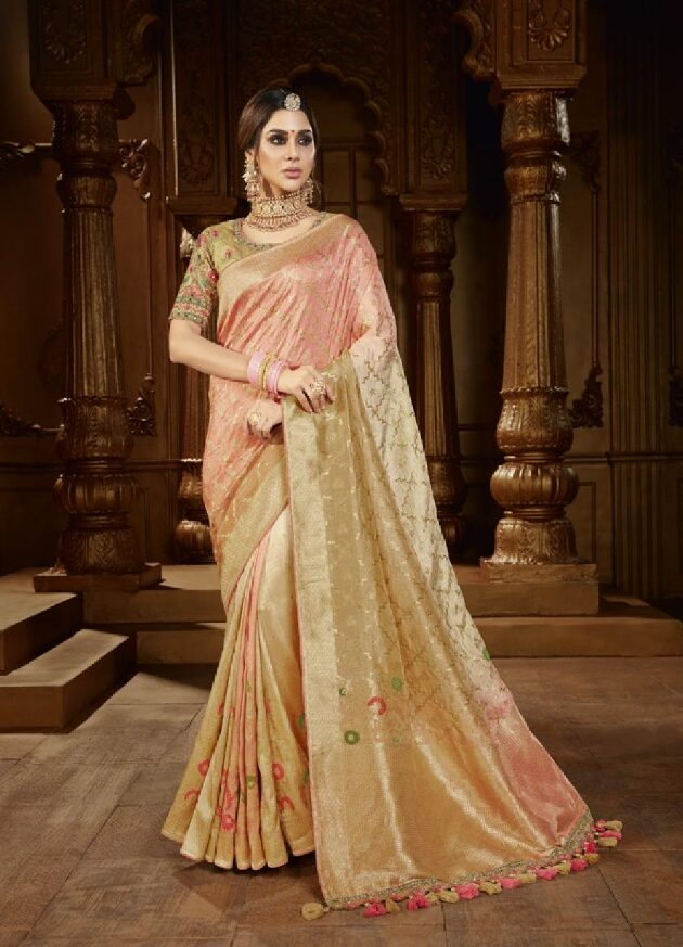 New Trend Designer Light Cream Color Fancy Saree For Wedding