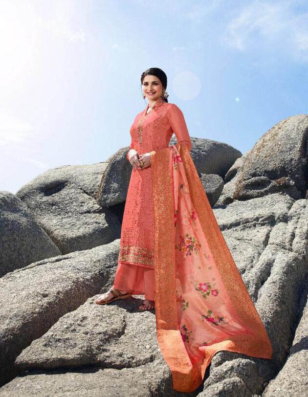 New Trend Designer Light Orange Color Punjabi suits For Ladies.