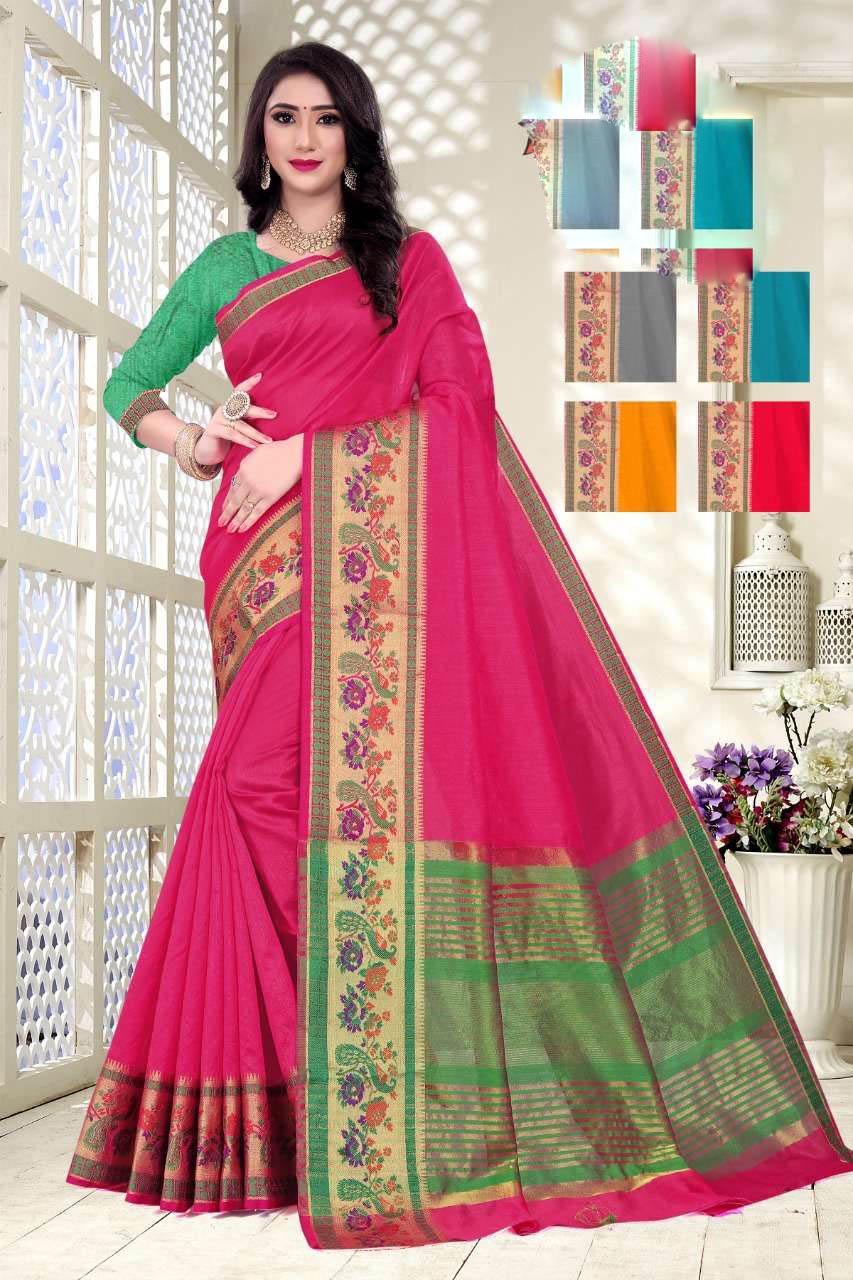 New Trend Designer Pink Color Soft Silk Saree Online Cost.