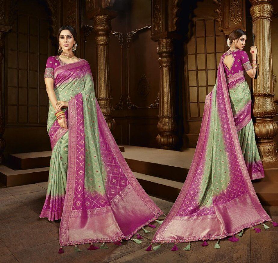 New Trend Designer Pink Mix Green Color Saree For Bride