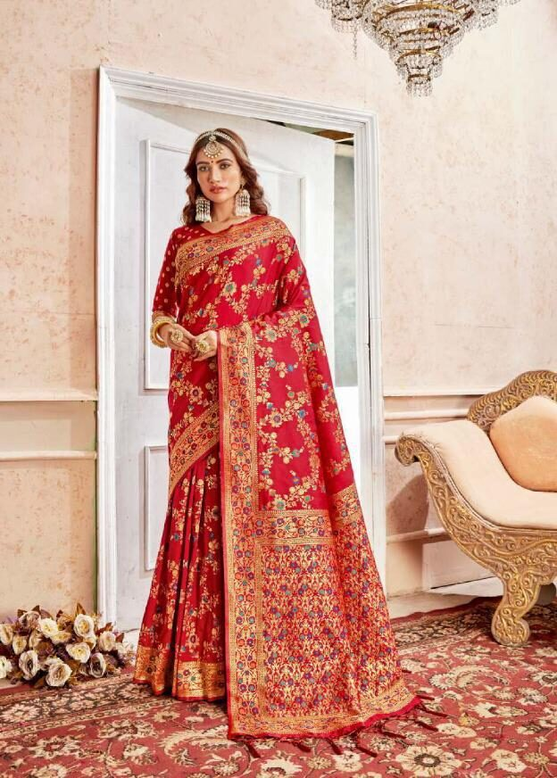 New Trend Designer Red Color Heavy Saree For Online Cost.