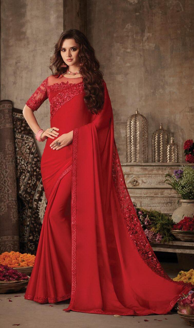 New Trend Designer Red Color Saree For Wedding 2020.