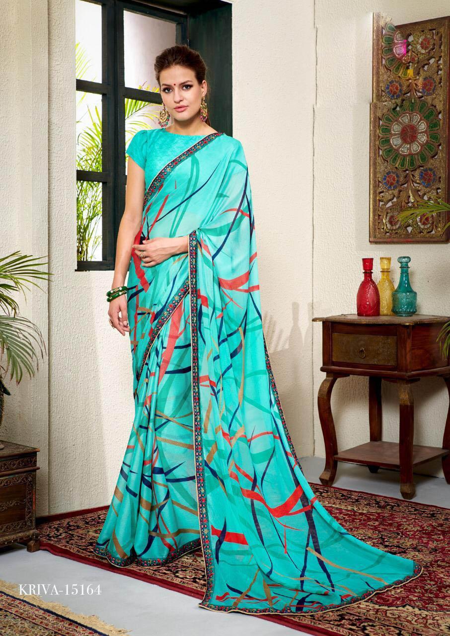 New Trend Designer SkyBlue Color Designer Georgette Saree