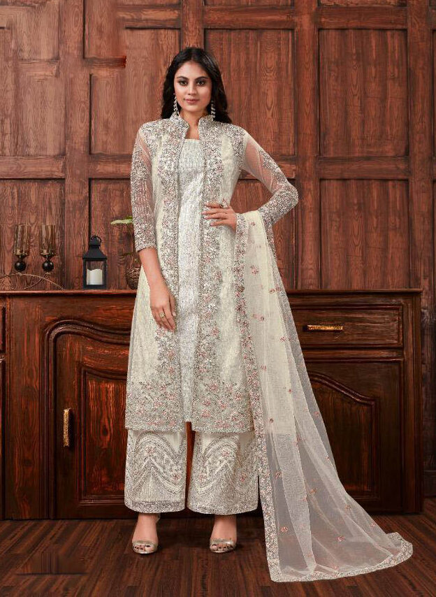 New Trend Designer White Color Suit with Heavy Work