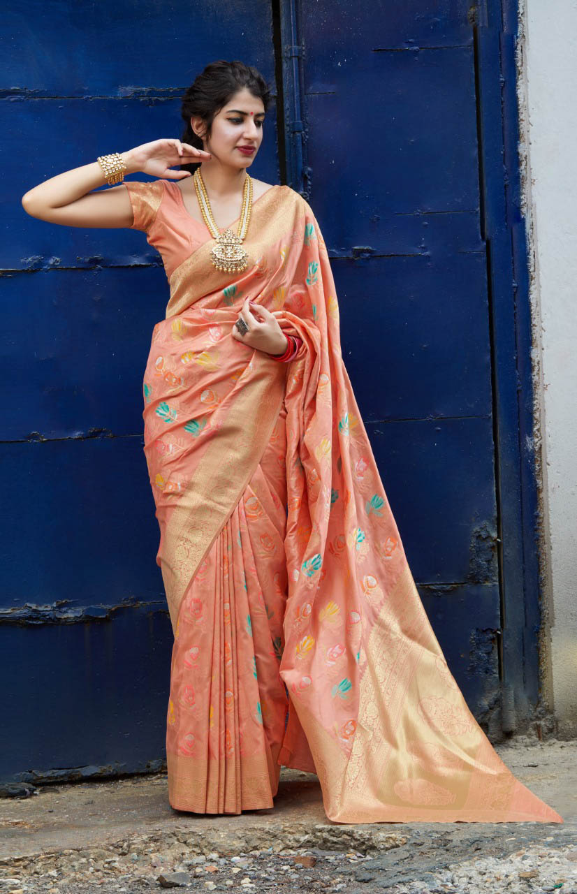 New Trend Light Pink Color silk sarees online shopping.