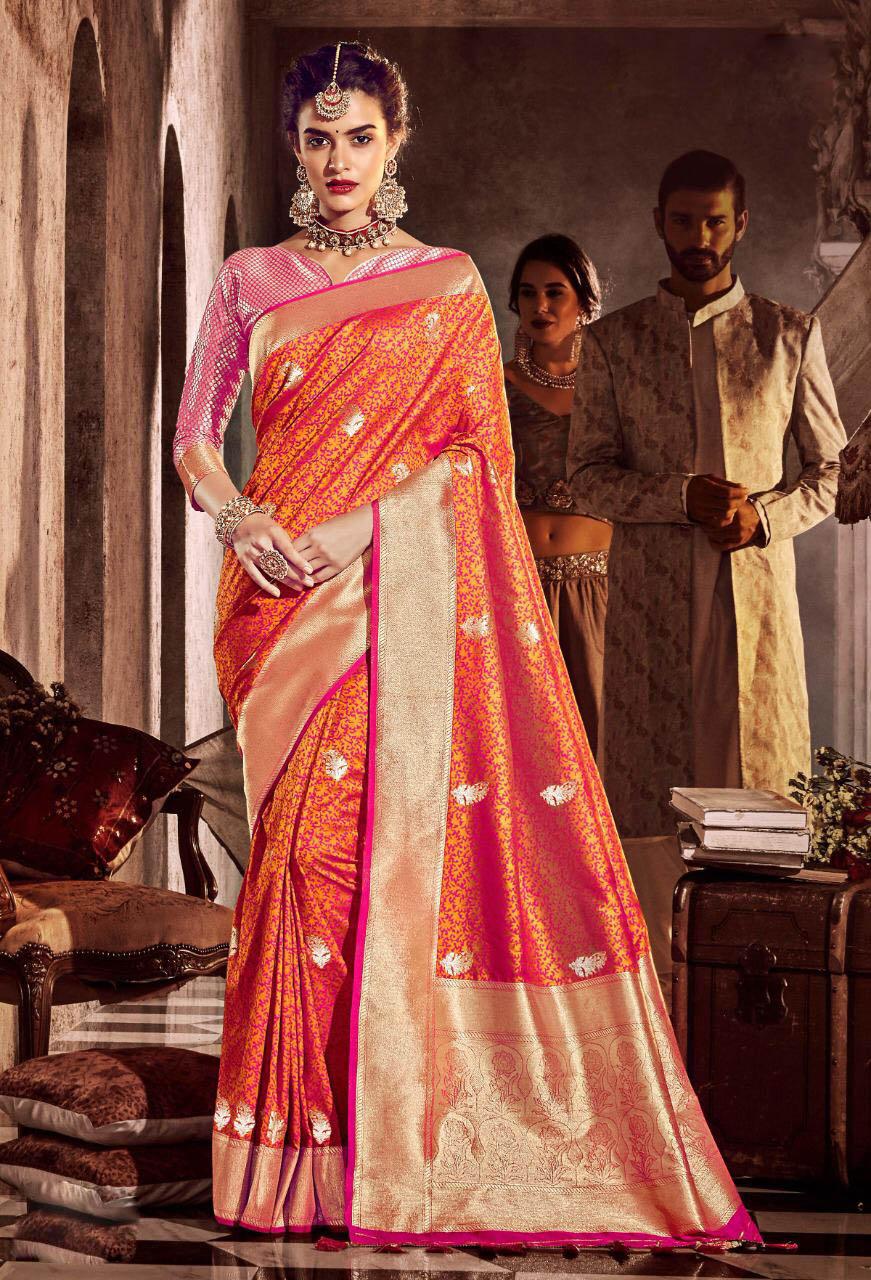 New Trend Orange Color Designer Silk Saree With Price.