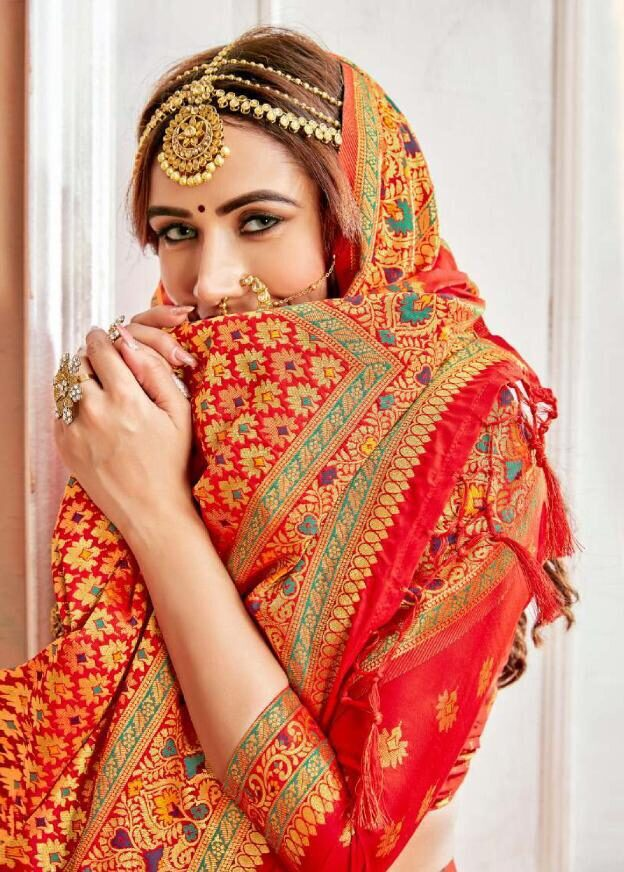 New Trend Orange Color Heavy Saree For Wedding Online Cost