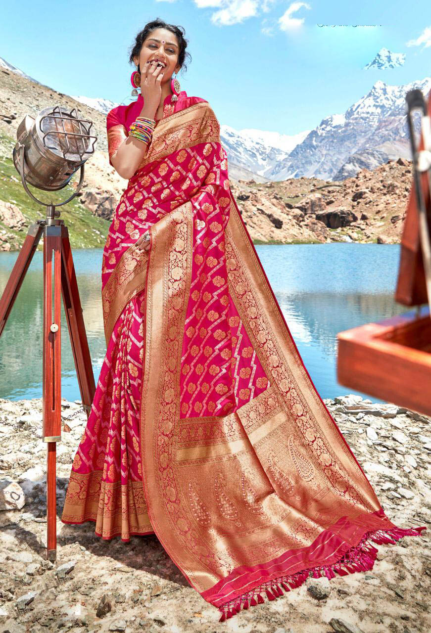 New Trend Pink Color Best Designer Banarsi Silk Saree