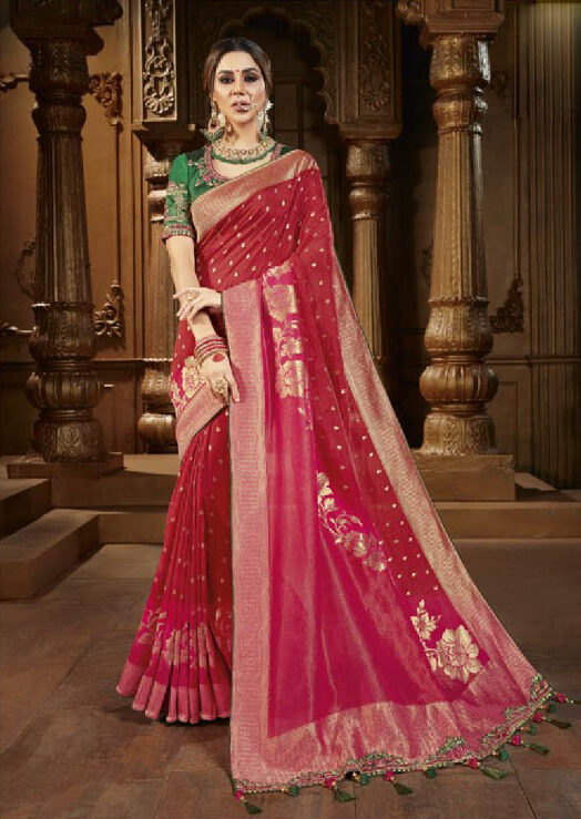 Best Trend Red Color New Saree Fashion 2020.