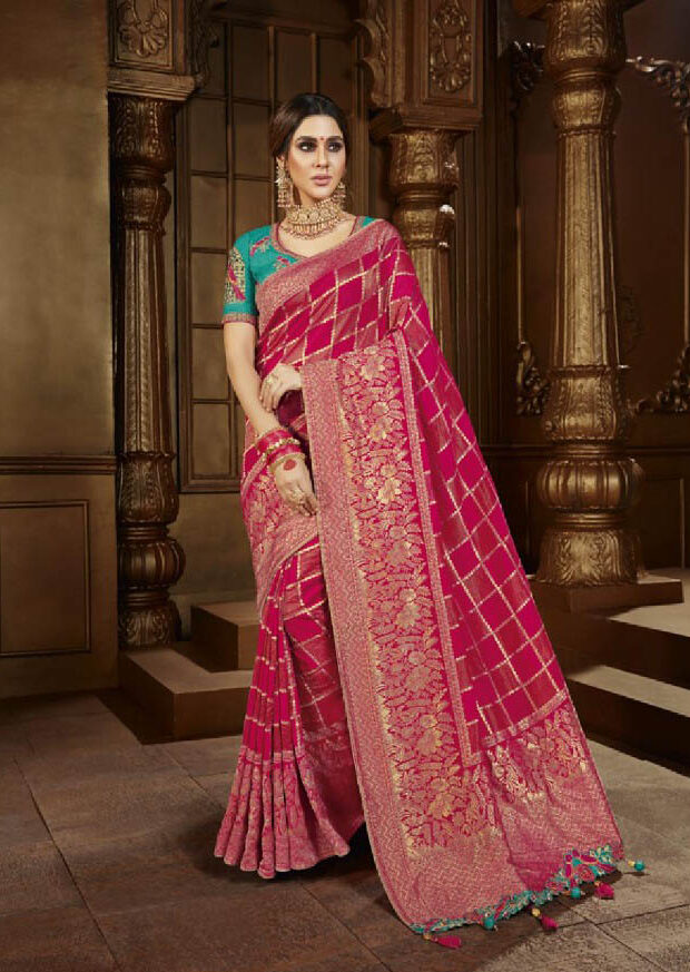 New Trend Red Color Designer Saree With Wedding Online