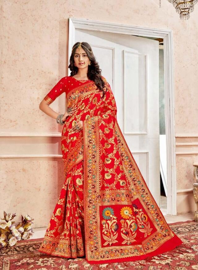 New Trend Red Color Wedding Saree For Bride Online Cost