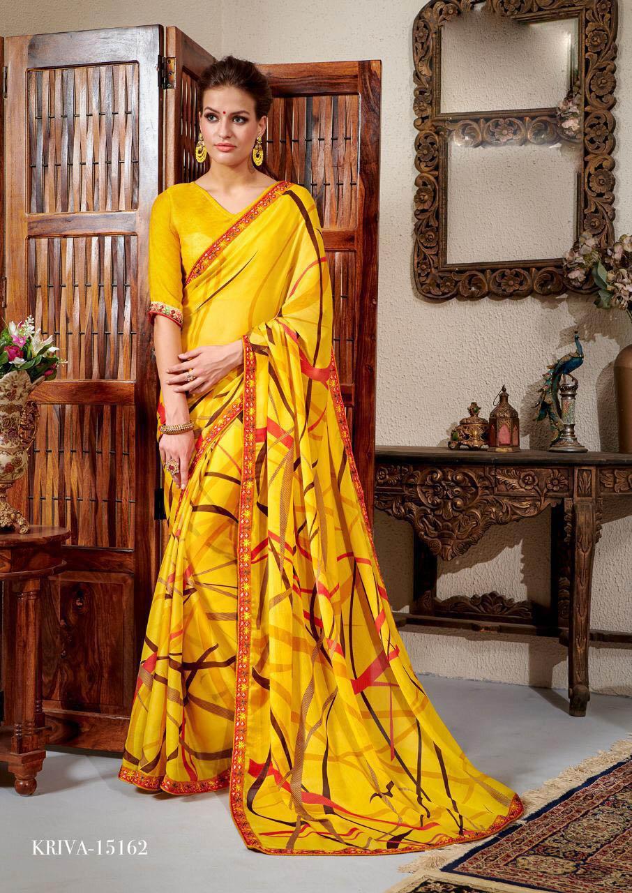 New Trend Yellow Color Chiffon Grorgette Designer Saree