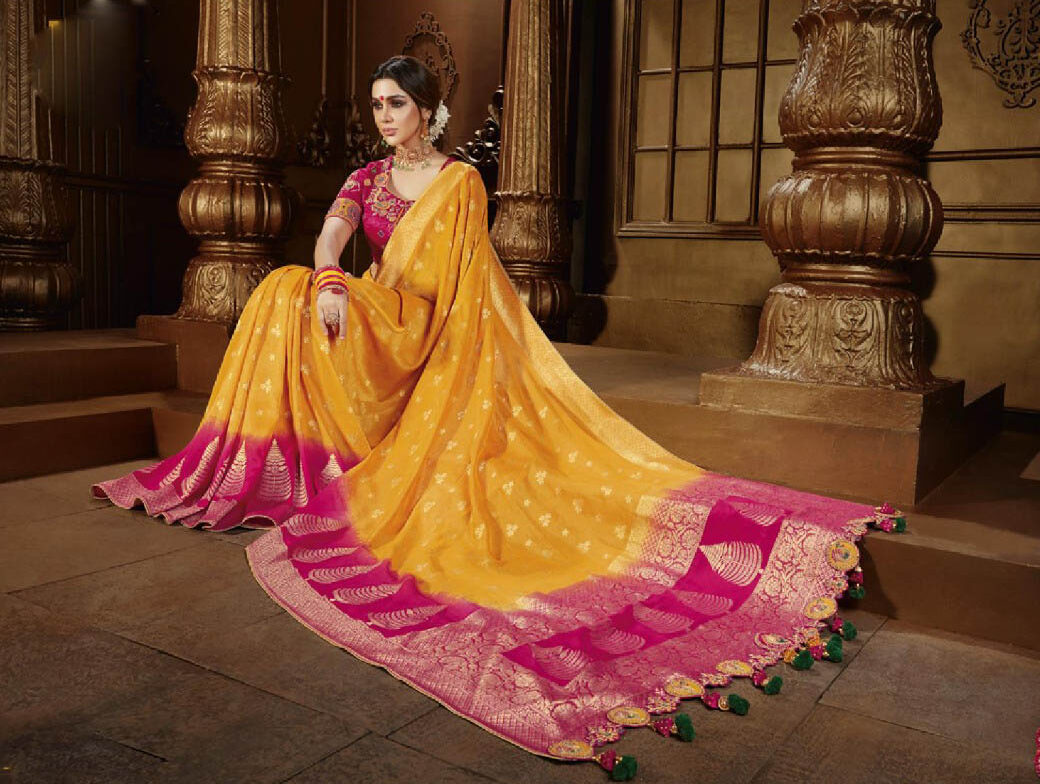 New Trend Yellow Color Latest Wedding Saree Collection 2020