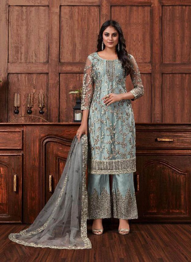 Swarovski Work Blue Color Designer Suit With Online Cost.