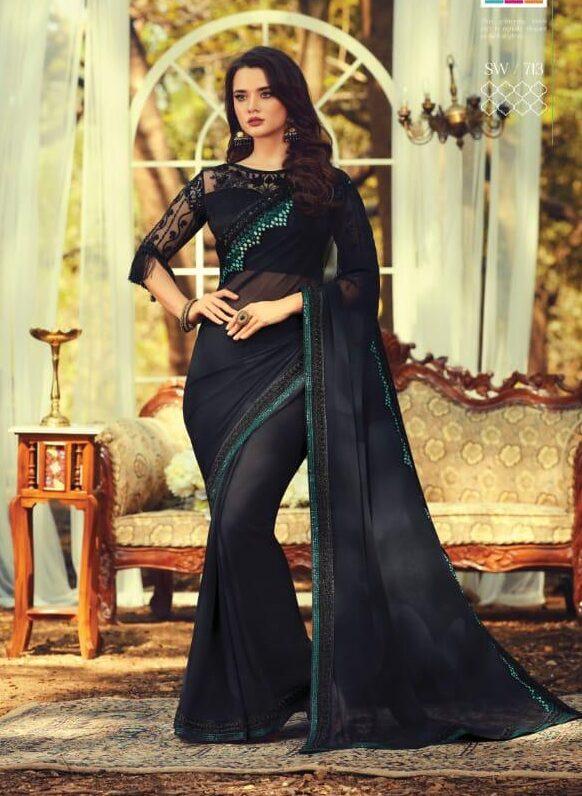 Best Designer Blue Color Saree For Wedding Party Online.