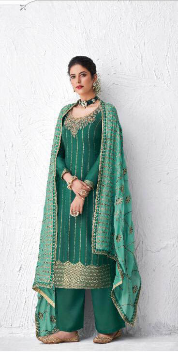 Best Glossy Green Color Suit Design For Girl Latest 2020