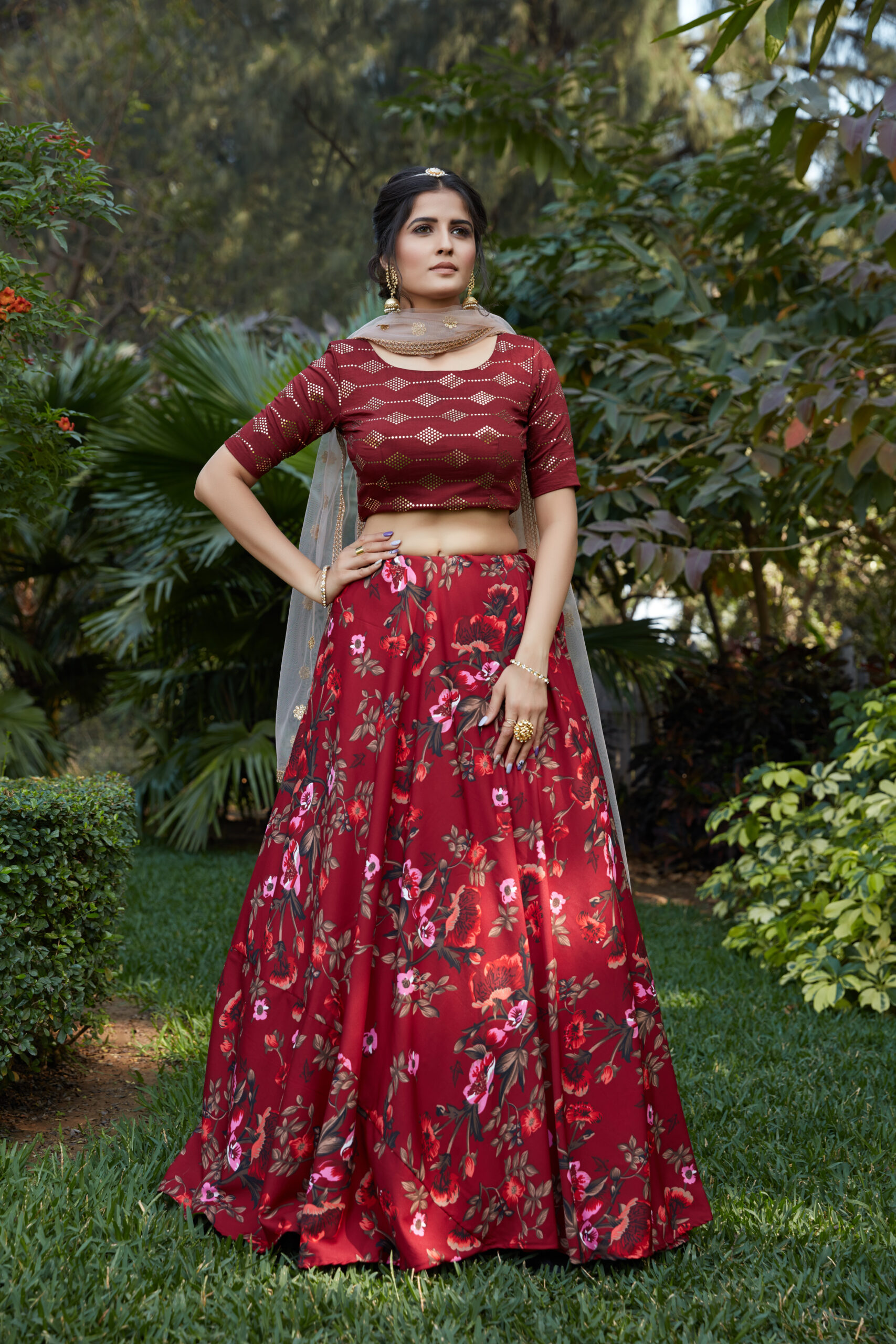 Cocktail Floral Lehenga with Crop Top