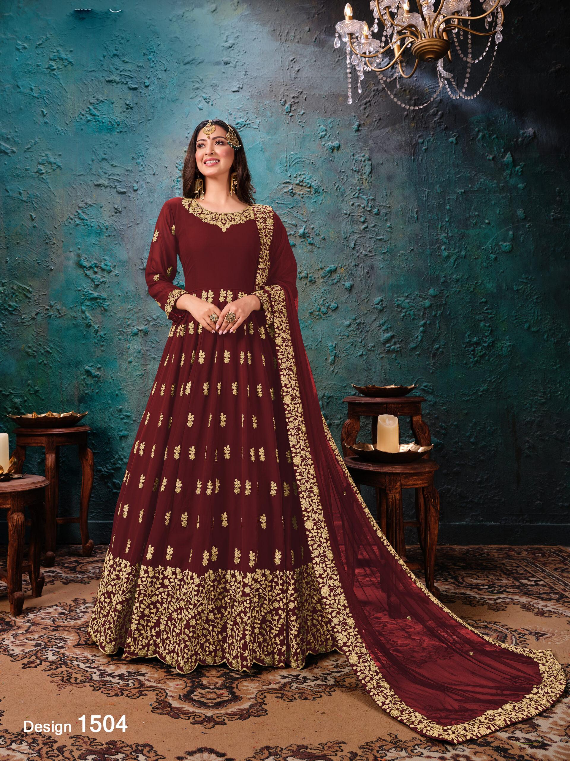 Dark Maroon Latest Wedding Gown for Girls and Women