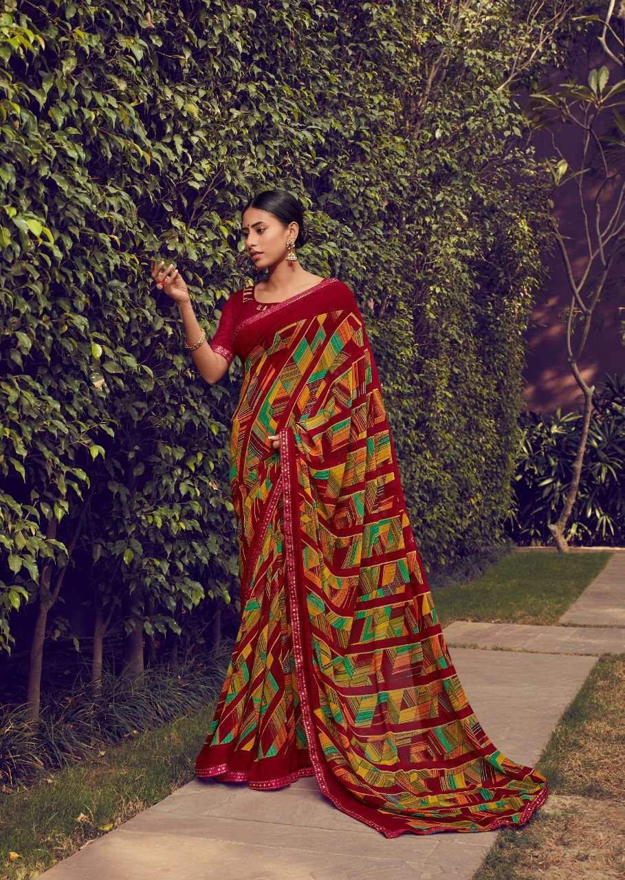 Designer Check Print Saree Border Lace Price