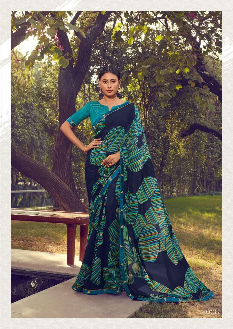 Designer Geometric Print Professional Sarees for Teachers