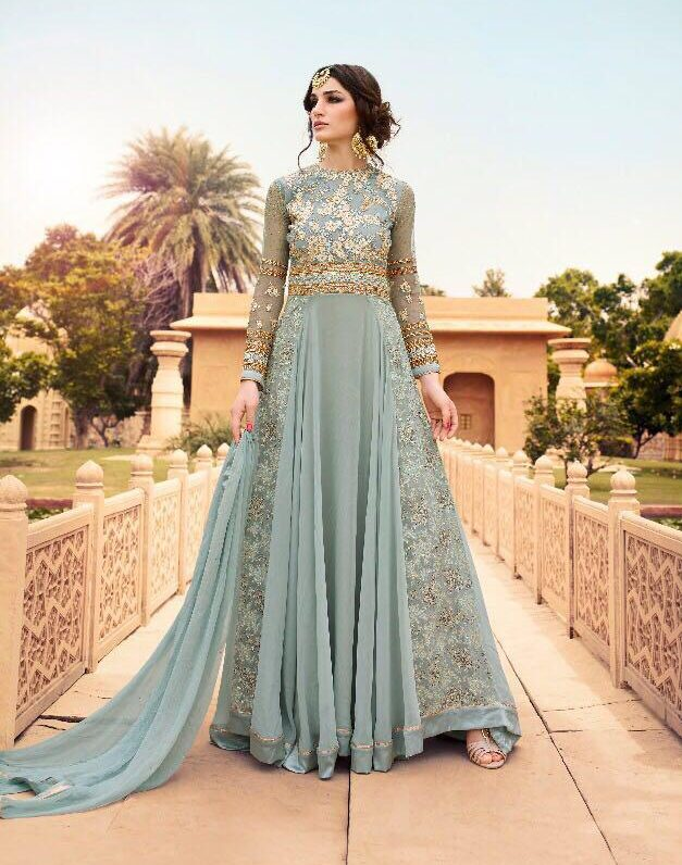Designer Heavy Embroidered Reception Dress for Indian Bride