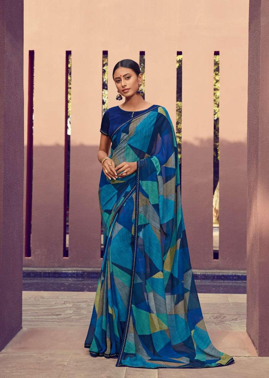 Designer Lace Border Geometric Pattern Saree in Multi Colour