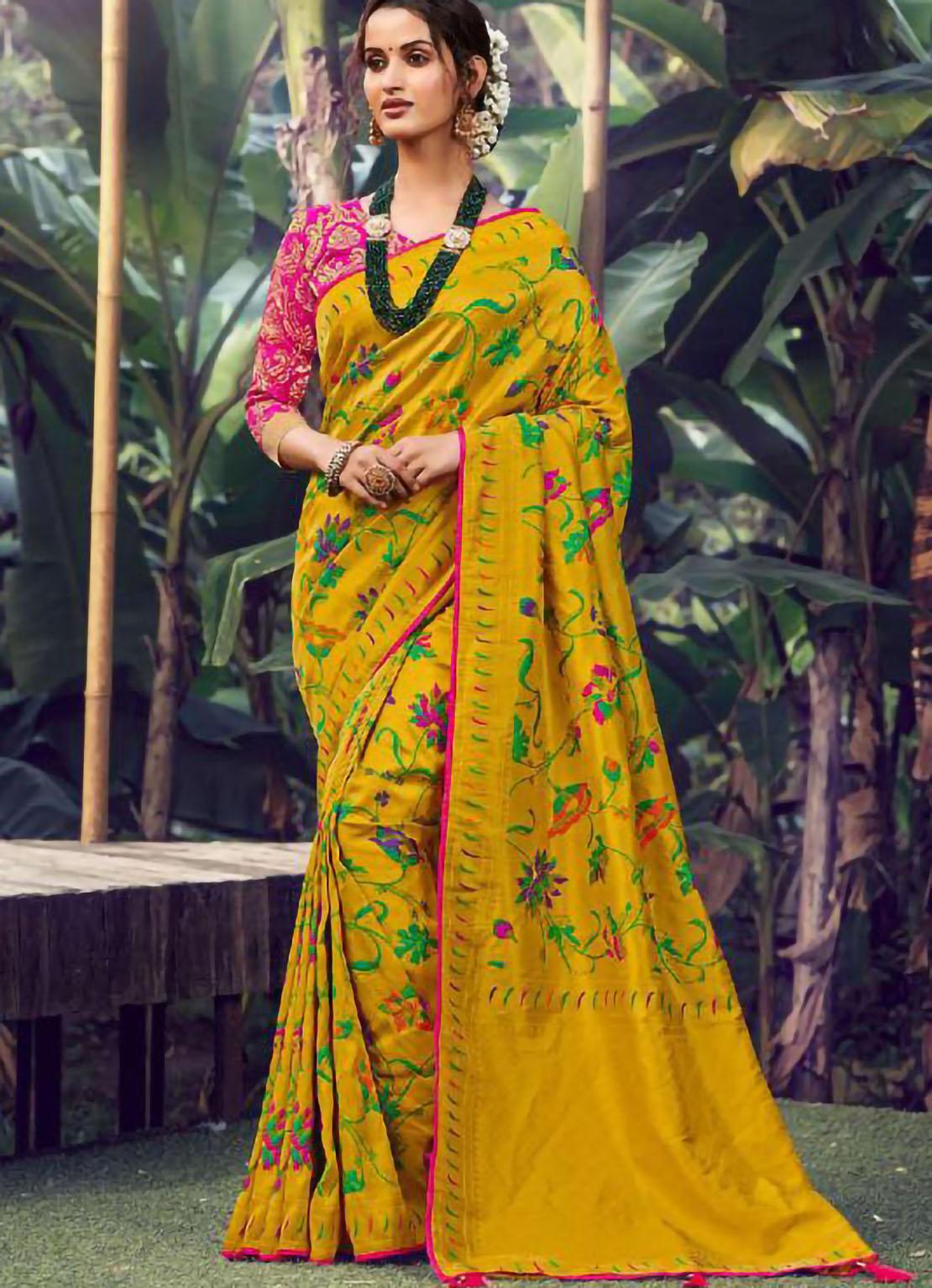 Designer Rani Pink Blouse Limeyellow Silk Saree Online Shopping