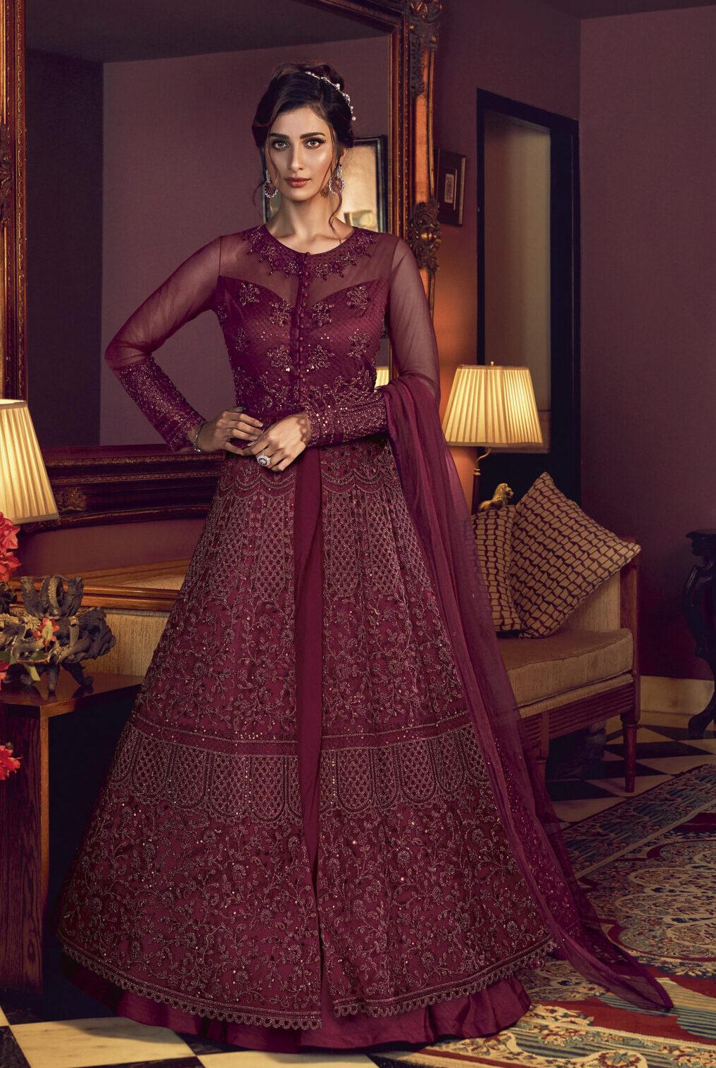 Designer Net Wine Colour Latest Anarkali Gown Dress With Dupatta Online