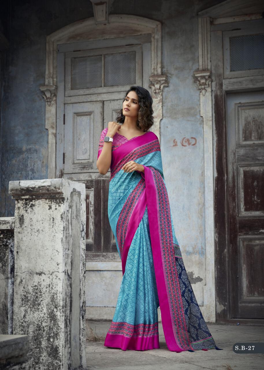Designer Magenta Sky Blue Saree Matching Blouse
