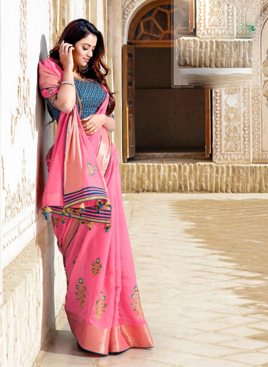 Fashionable Designer Saree in Pink with Latest Designer Contrast Blouse