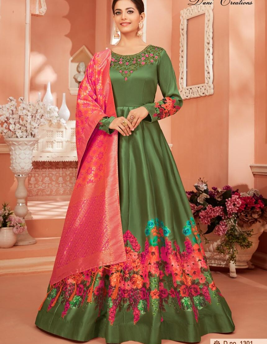 Floral Print Latest Designer Green Colour Gown Online Shopping
