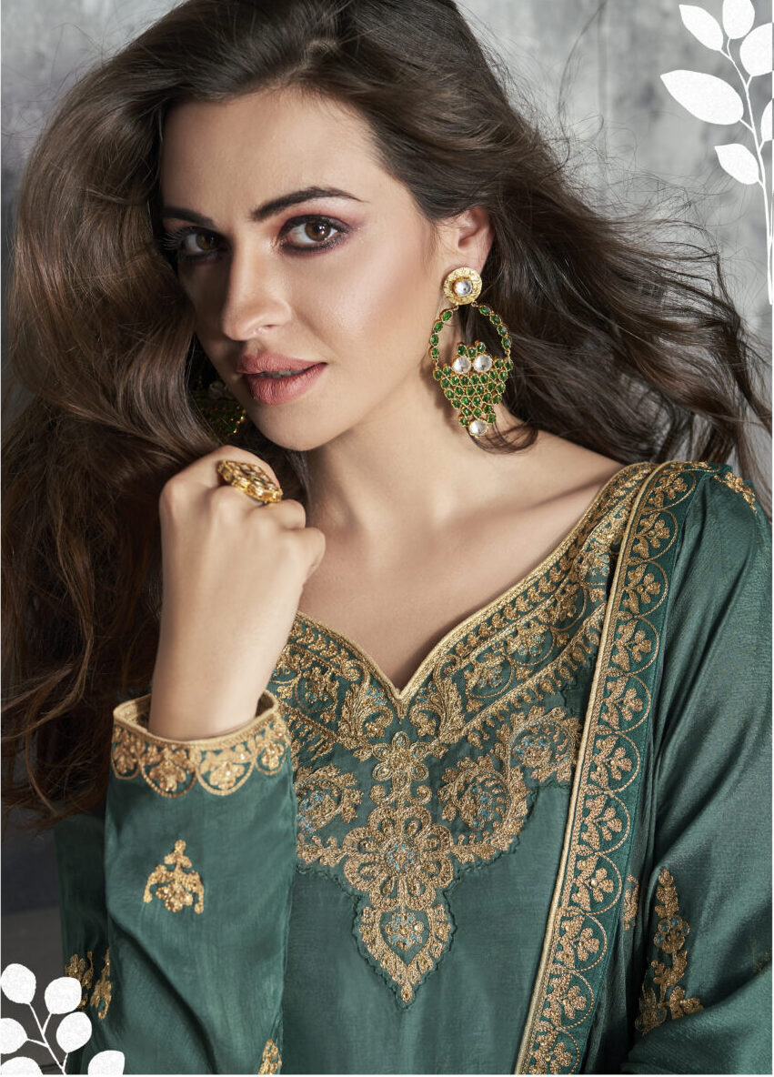 Forest Green Bridal Suits With Heavy Dupatta