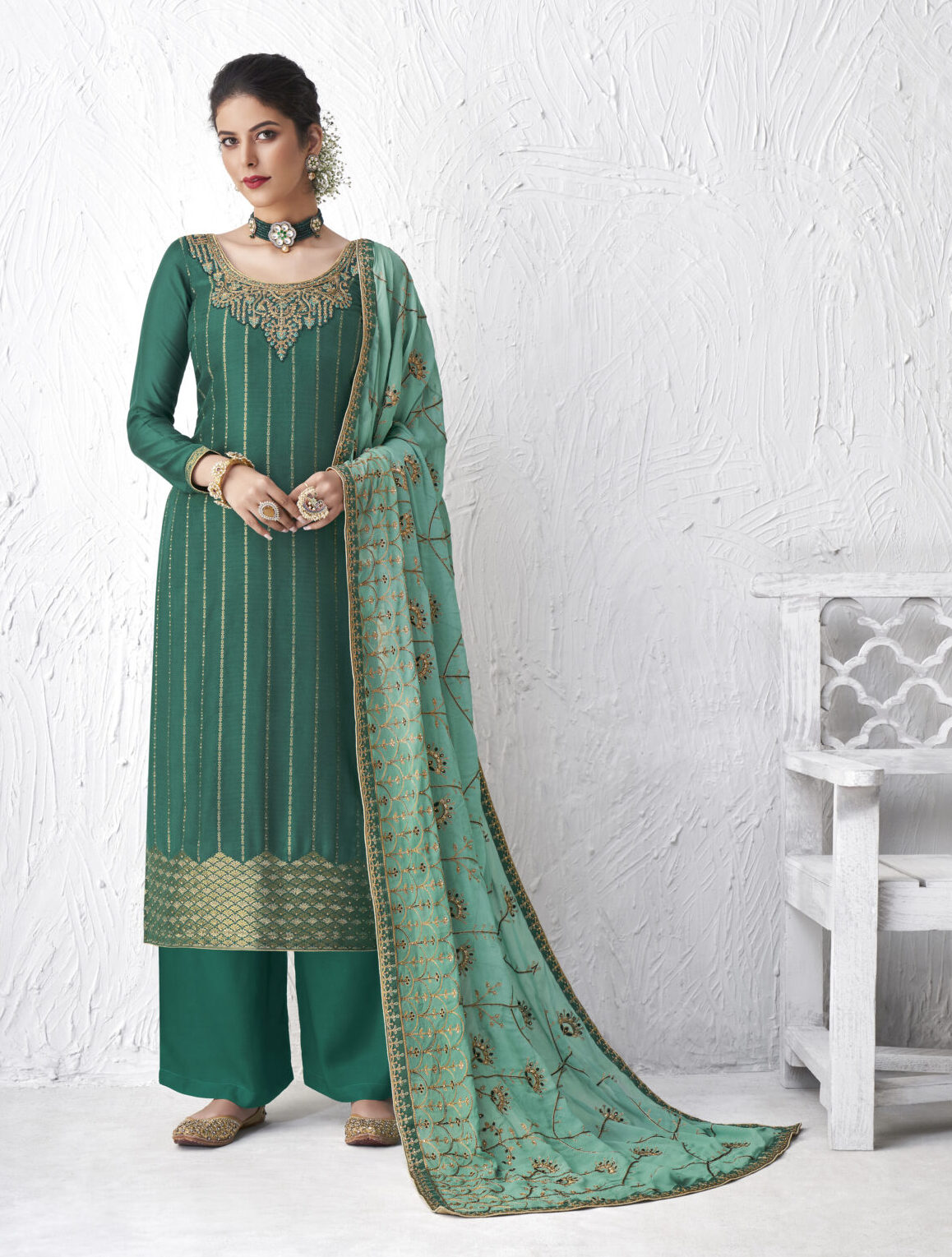 Green Colour Bridal Suits with Heavy Dupatta