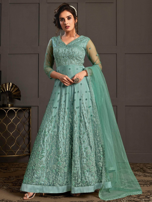 Heavy Embroidered Designer Sequins Work Anarkali Gown Dress 2021